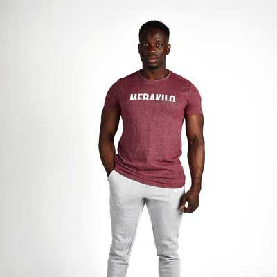 T-Shirts & Tops - Merakilo Men's Half Cut T-Shirt - Red Marl
