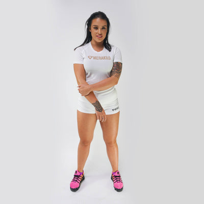Merakilo Ladies Core T-Shirt - White/ Nude - merakilo