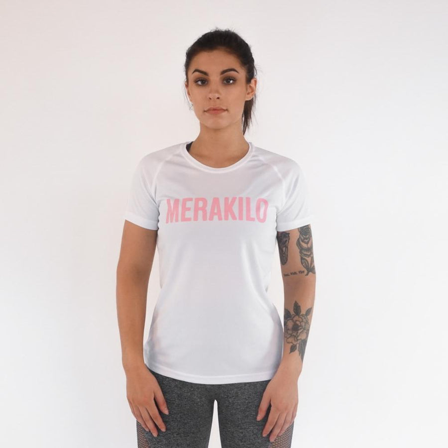 Merakilo Ladies Core T-Shirt - White/ Pink - merakilo