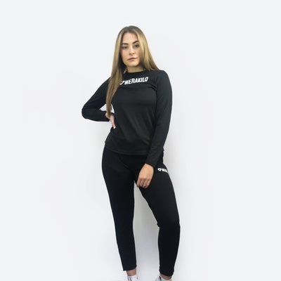 Merakilo Women's Long Sleeve Core Tee - Black - merakilo