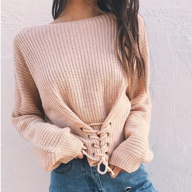 f2b6203ff7 Lace Up Knit Top (Blush Pink  Yellow  Olive Green) – MissBaes
