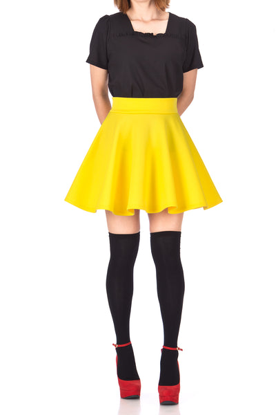 Fancy Retro High Waist A-line Flowing Full Flared Swing Circle Skater Short Mini Skirt - Dani's Choice