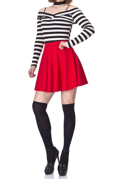 Flouncy High Waist A-line Full Flared Circle Swing Dance Party Casual Skater Short Mini Skirt - Dani's Choice