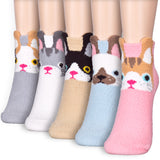 Soft Warm Cat Kitty Character Fuzzy Cozy Micro Fiber Home Sleeping Ankle Socks - Dani's Choice