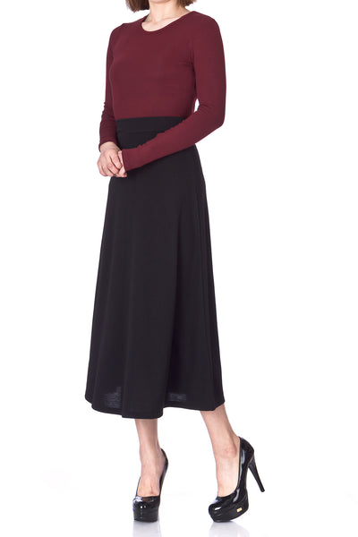 Plain Beauty Casual Office High Waist A-line Full Flared Swing Skater Maxi Long Skirt - Dani's Choice