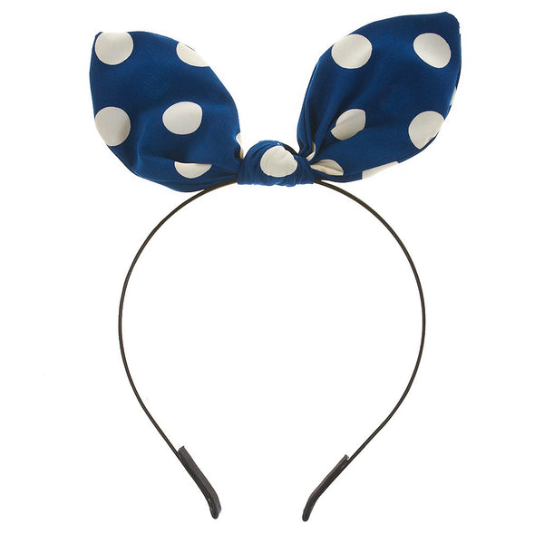 Retro Polka Dot Pointed Ribbon Headband - Dani's Choice