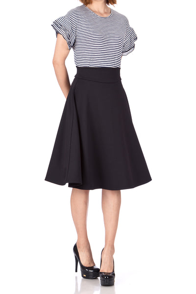 Stunning Wide High Waist A-line Full Flared Swing Office Dance Party Casual Circle Skater Midi Skirt - Dani's Choice