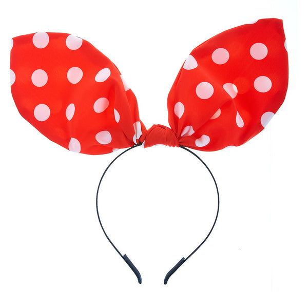 White Polka Dot Red Rabbit Ear Ribbon Headband