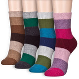 Stylish Stripe Wool-like Cotton Blend Thick Warm Winter Crew Socks - Dani's Choice