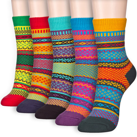 Vivid Color Unique Pattern Thick Warm Winter Jacquard Crew Socks - Dani's Choice