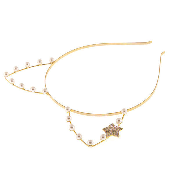 Artificial Pearl Cat Ear Steel Headband with Rhinestone Star