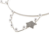 Artificial Pearl Cat Ear Steel Headband Hairband with Rhinestone Star - Dani's Choice