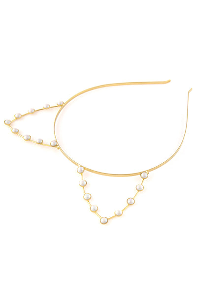 Artificial Pearl Cat Steel Metal Cat Ear Headband