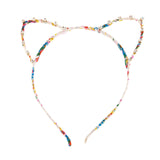 Floral Print Cat Ear Headband decorated with Rhinestones