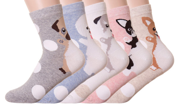 Polka Dot Animal Crew Socks