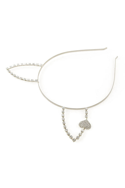 Rhinestone Rabbit Ear Steel Headband with Heart - Dani's Choice