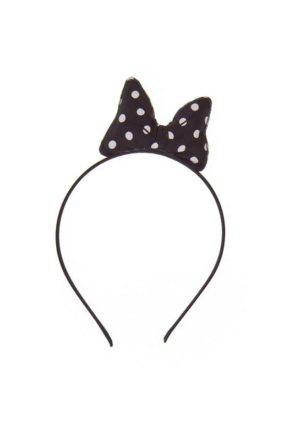 Super Cute Black Line Polka Dot Bow Headband
