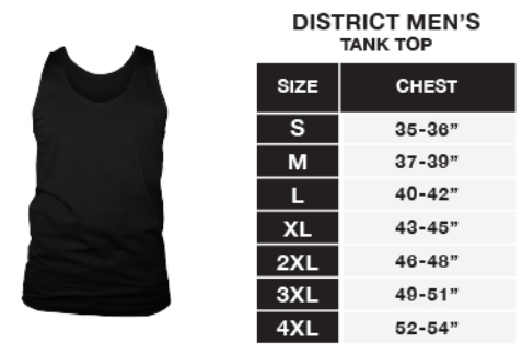 District Men's Tank Sizing Chart