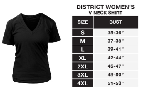 District Womens V-Neck Sizing Chart