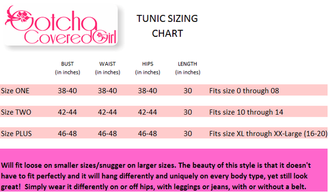 Gotcha Covered Girl Tunic Sizing Chart