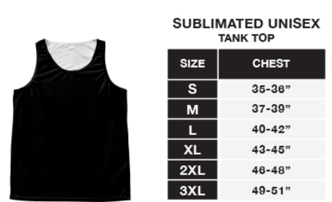 Sublimation Unisex Print Tank Sizing Chart