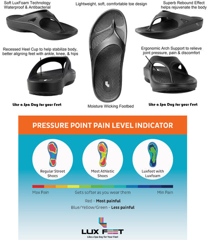LuxFeet Unisex Orthopedic Arch Support Flip Flops