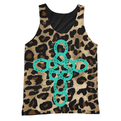 TURQUOISE, BLACK AND ANIMAL PRINT TANK