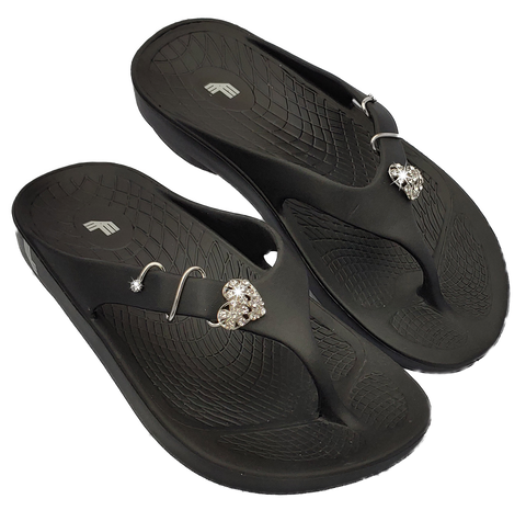 LuxFeet Unisex Orthopedic Arch Support Flip Flops Adorned with Shoe Charms (Shoe Jewelry, Shoe Conchos)