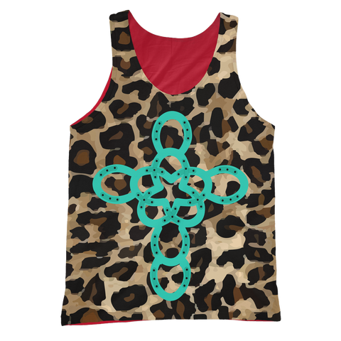 TURQUOISE CROSS ANIMAL PRINT TANK