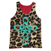 Image of TURQUOISE CROSS ANIMAL PRINT TANK