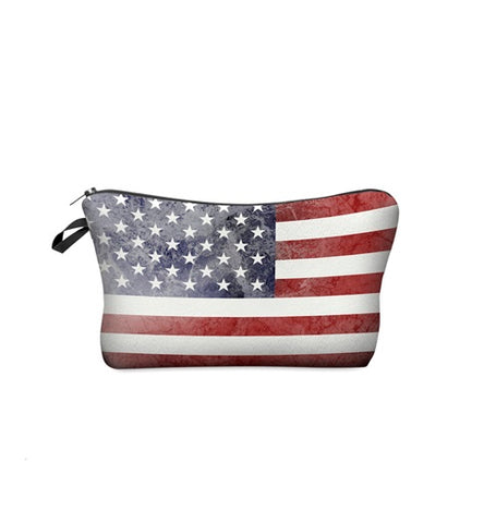 3D AMERICAN FLAG COSMETIC BAG