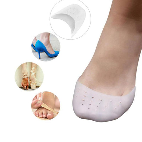 A Pair of Soft Silicone Gel Toe Protector Toe Support Ballet Shoe Covers High Heels Pointed Toe Pads (White)