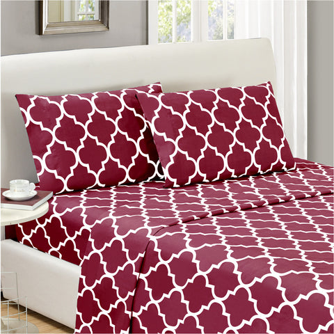 Quatrefoil-Burgundy Red