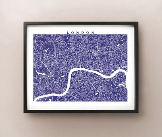 London Map Print - UK Wall Art - England Poster