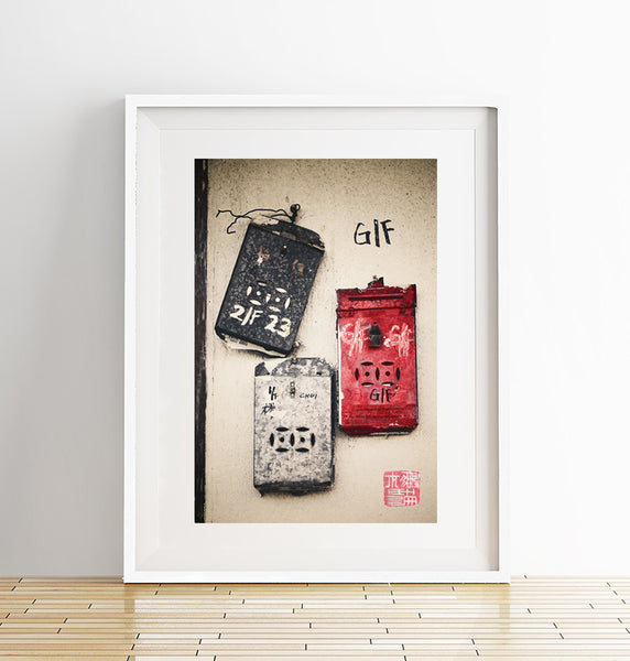 Old Hong Kong Post boxes Print