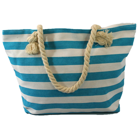 Nautical Beach Bag with Rope Handles in a Light Blue Stripes Design