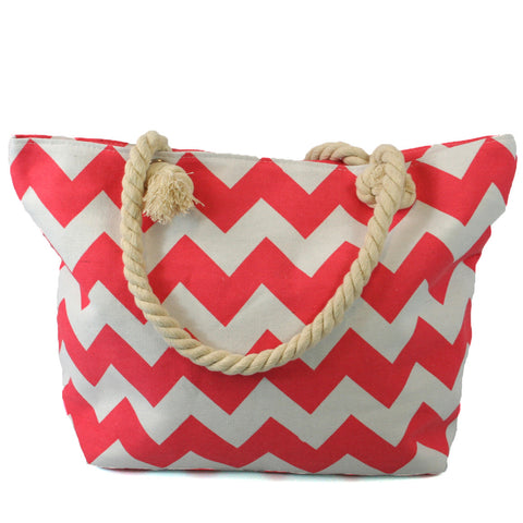 Beach Bag with Rope Handles in a Pink Stripes Design