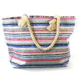 Beach Bag with Rope Handles in a Pink, Blue & Grey Stripes Design