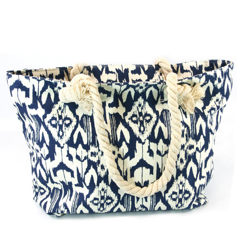 Beach Bag with Rope Handles in a Decorative Blue Design