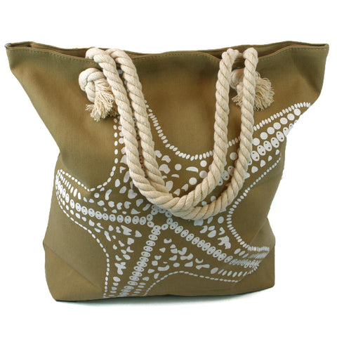 Beach Bag with Rope Handles with a Starfish Design