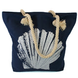 Beach Bag with Rope Handles and a Shell Design