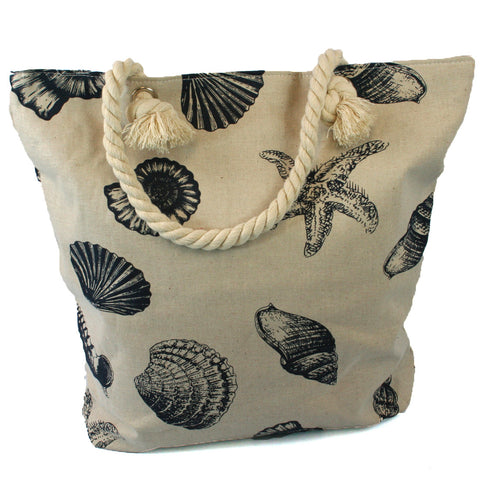 Beach Bag with Rope Handles and a Beach Pattern