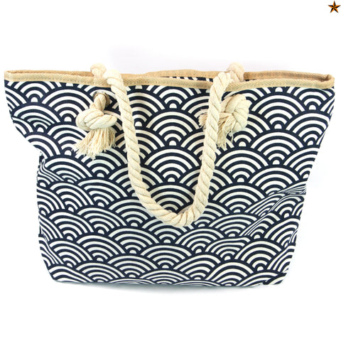 Beach Bag with Rope Handles with a Scalloped Blue Design