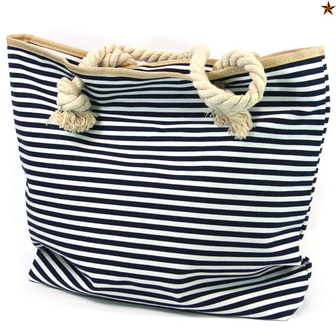 Nautical Beach Bag with Rope Handles in a Dark Blue Stripes Design