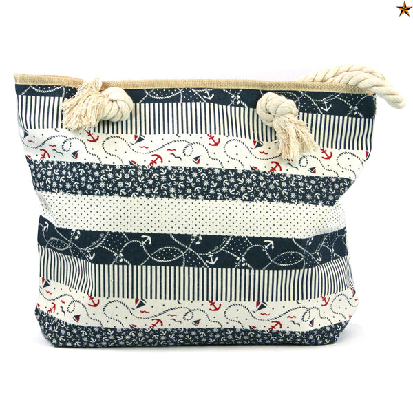 Nautical Beach Bag with Rope Handles with a Sailing Themed Print