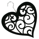Black Heart Scarf Hanger with a flocked non slip coating