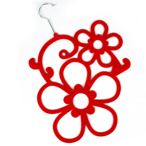 Red Flowers Scarf Hanger with a flocked non slip coating