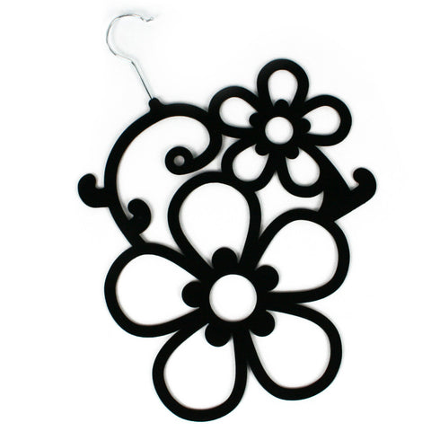Black Flowers Scarf Hanger with a flocked non slip coating