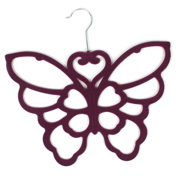 Purple Butterfly Scarf Hanger with a flocked non slip coating