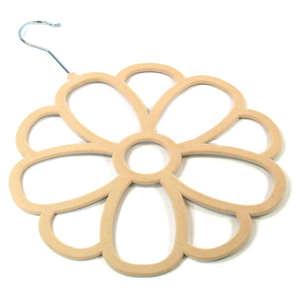 Large Cream Flower Scarf Hanger with a flocked non slip coating